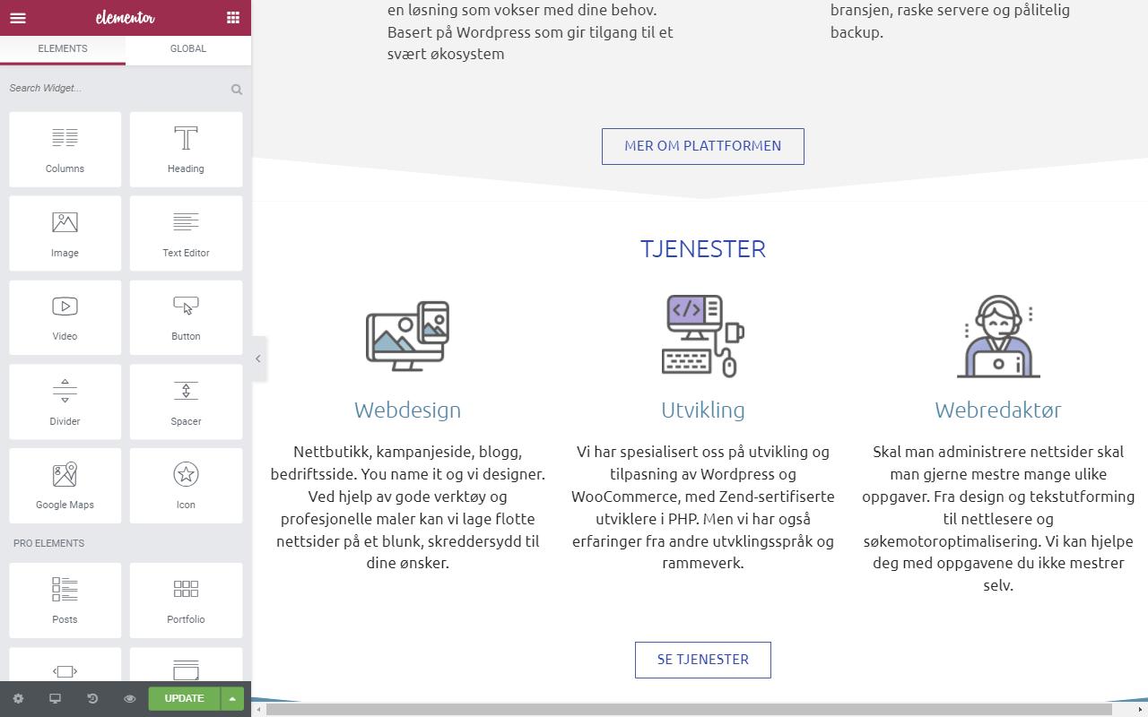 Elementor for å lage flotte nettsider